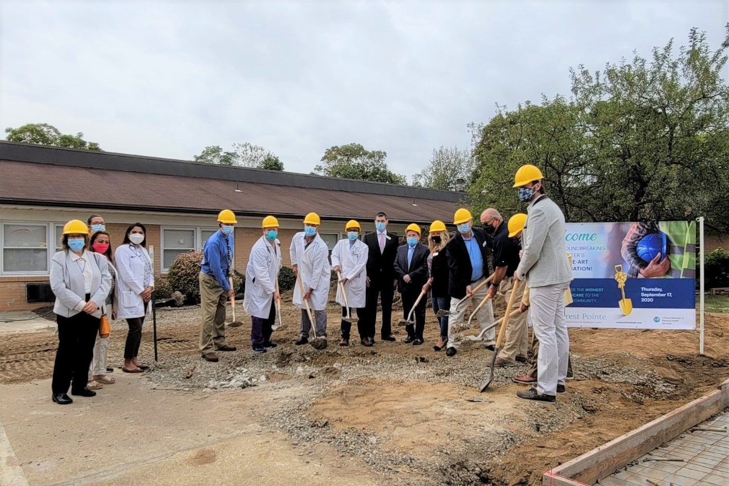 The Crest Pointe  Rehabilitation & Healthcare Center team and guests break ground for the Point Pleasant skilled nursing facility's therapy gym expansion.